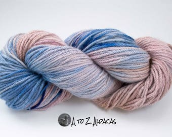 Royal Baby Alpaca Yarn Bulky Weight Hand Dyed Alpaca Yarn Peek a Blue