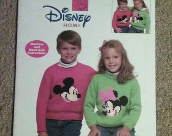 Leisure Arts, Mickey & Minnie Knit Sweaters, Kids, Adults, Disney Home, Machine and Hand Knit Instructions, 26 Page Hard to Find Book