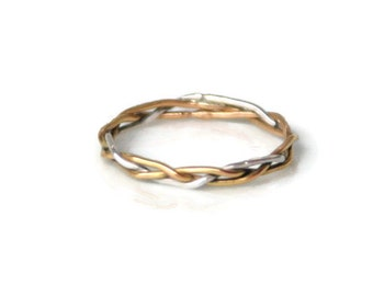 Braided Ring in 18k Gold and Silver - thin, delicate