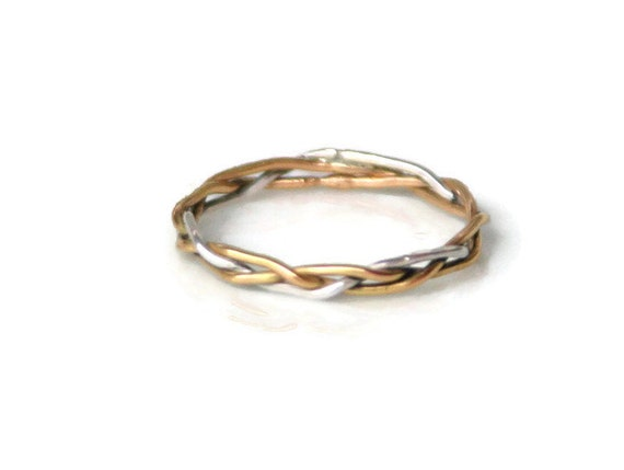 braided ring in 18k gold and silver thin delicate