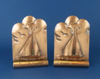 Vintage Gregorian Hammered Copper Bookends in Sailboat Pattern #217