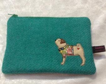 Pug purse, jade Harris Tweed zipper purse, small make up bag, appliqued pug embroidered purse, pug lover, freehand machine embroidery