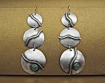 Sterling silver earrings with green adventurine