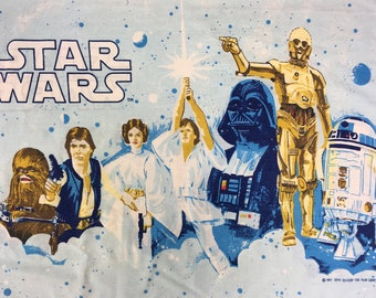 Vintage 70s Star Wars Pillow Case Cotton Standard Size