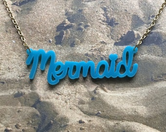 Blue mermaid necklace