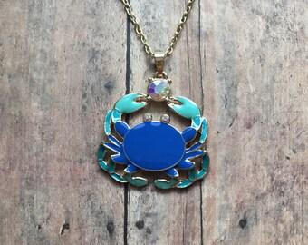 Adorable blue crab necklace