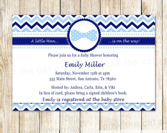 Bowtie Invitation Card - Baby Boy Shower Invitation Bow Tie Invitation Navy Blue Chevron Baby Sprinkle Personalized Invitation