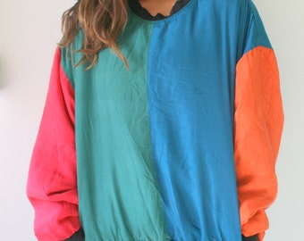 1980s RAINBOW SILK Jacket..90s. colorful. bright. retro. 1980s. 1990s. rad. fun. hipster. womens. mens. swishy. mesh jacket. pullover. SILK
