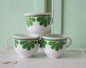 Vintage Germany Atomic Mug Set of 3...coffee. tea. flower. retro housewares. kitsch. housewares. gift. kitchen. drink. green. galaxy. atomic