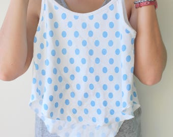 1980s POLKA DOTS Tank Top...size small womens...kitsch. top. 80s clothing. summer. colorful. hipster. urban. hippie. boho. blue. polka dots