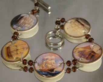 Tall Ships Print Art Clasp Bracelet - Nautical jewelry - Sail boat Jewellery