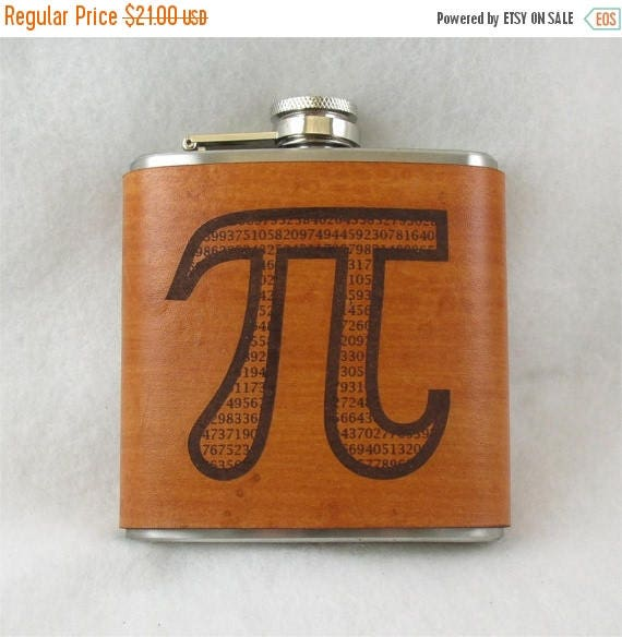ON SALE PI Flask - Toast Pi Day in Style - Flask with Hand Dyed Engraved Leather Wrap