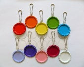 10 Colored Flattened Bottle Cap Zipper Pulls with Premium Epoxy Stickers Kit, Colored Flattened Bottle Cap Zipper Pulls, DIY Zipper Pull Kit