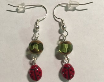 Only one! Lady Bug Earrings.