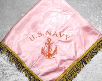 U.S. Navy Satin Square Fringed Pink Table Cloth, 35x35in, World War II Era Nautical Military Souvenir c1940s, FREE SHIPPING