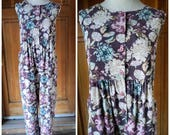 "Vintage 80s Jumpsuit Laura Ashley Floral Oversize Grunge Tiny Corduroy Plus Size Playsuit 1980s M 50"" B"