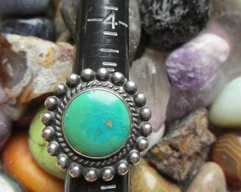 Vintage Green Blue Turquoise Artisan  Ring 5.75