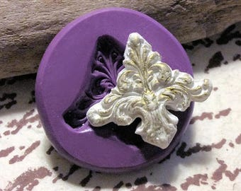 Ornate medallion flourish  mold - flexible silicone push mold / craft/ desser/ resin/jewelry and more...
