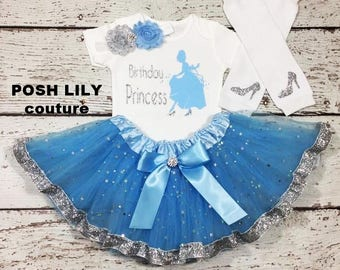 Birthday Girl Cinderella Outfit, Birthday princess set,  Birthday Cinderella blue tutu, Cinderella smash cake outfit