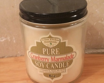Cranberry Marmalade Pure Soy Candle - 8 oz., Soy Candle, Glass Candle, soy
