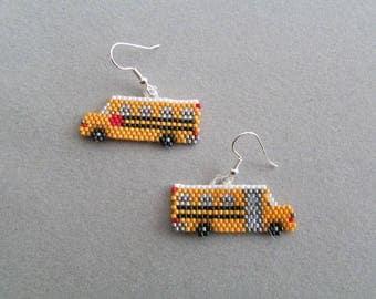 Beaded Yellow School Bus Earrings