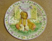 Enesco Cherished Teddies Girl With Chicks Collectors Plate #203009 Retired With Box and Certificate