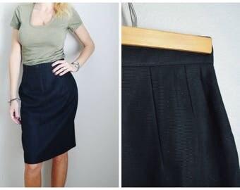 Vintage Emmanuelle Khanh Paris Black Kneelength Pencil Cotton Skirt // womens small high waist