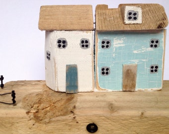 Little wooden houses, Driftwood houses, gift, original home decor, driftwood ornament, wedding present, Driftwood art
