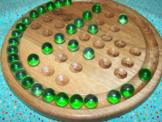 Hand Crafted 2 Sided Marble Game Solitaire Strategy Game