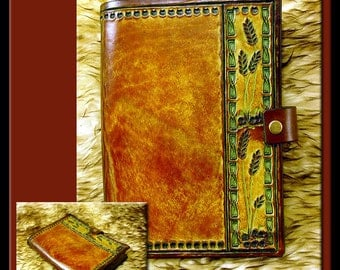 BAMBOO BORDER & WHEAT Design • A Beautifully Hand Crafted Medium Sized Leather Journal. Great for all sorts of notes and creative writing.