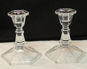 "Pair Vintage 5"" Glass Candlesticks.. Etched Star of David.. Jewish Hannakuh"
