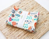Large Cloth Napkins - Set of 4 - (N3772) - Orange Coral Gypsy Wildflower Floral Modern Reusable Fabric Napkins