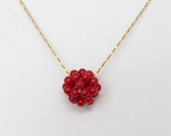 Beautiful Red Coral Cluster Ball Pendant Necklace, Bridal Necklace, Bridesmaid Necklace