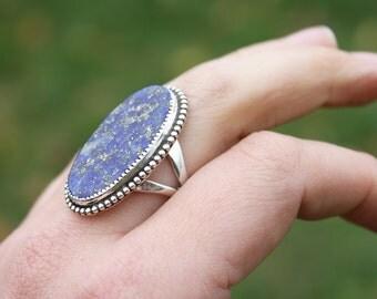 Lapis Sparkle Ring - Sterling Silver natural stone ring gemstone boho ring boho jewelry