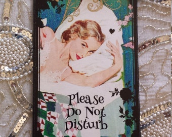 Please Do Not Disturb Where's My Damn Coffee Decorative Decoupage Plaque Wall Hanging Sign Home Decor Door Hanger