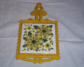 Vtg Cast Iron Tile Trivet Hot Plate with Yellow Green Flower Design - Cast Iron tray
