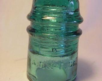 c1890s A. T. & T. Co. Aqua Glass Telegraph Telephone Insulator No. 2