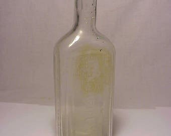 c1870s Litchfield's External Application Winchendon, Mass. Cork Top Flint Clear Blown Glass Medicine bottle