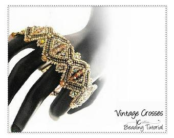 Peyote Stitch Braclet Pattern, Beading Pattern and Instructions, Beadweaving DIY Beaded Jewelry Beading Tutorial PDF Download VINTAGECROSSES