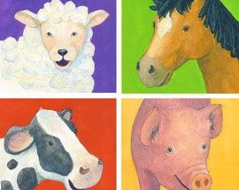 Farm Animals: Cow, Horse, Sheep Pig, 6x6, Watercolor Original Art