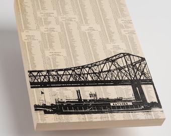 Greater New Orleans Bridge & Steamboat - Word Art, Kitchen Decor, New Orleans print