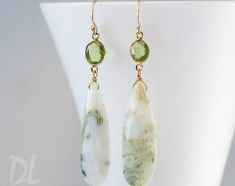 Long Green Dendrite Opal and Peridot Earrings - Gold Earrings - Gemstone Earrings - Modern Dangle Earrings
