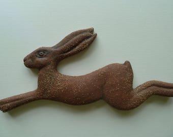 Stoneware ceramic hare sculpture wall decoration