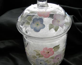Pastel flower candy dish or decanter
