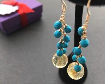 Turquoise Earrings, Citrine Earrings, Gold Blue Earrings, Turquoise Jewelry, Citrine Jewelry, Gemstone Drop Earrings, Statement Earrings