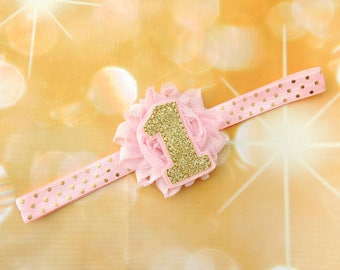 Gold 1 headband - Pink Gold 1 headband -  #1 Glitter Headband - First Birthday Headband Glitter Gold  - Pink Gold One Headband
