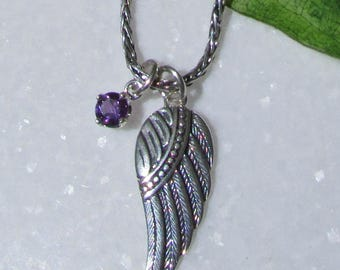 Archangel Michael, Angel Wing Necklace, Amethyst, Pisces, February Birthstone, Angel Pendant, Angel Jewelry, Angel Necklace, Protection Gift