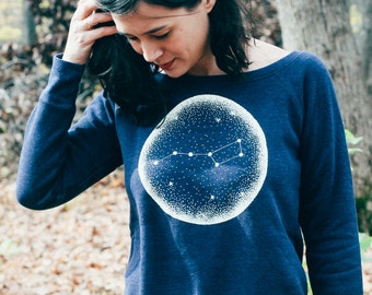 Little Dipper Indigo Ladies Fit Sweatshirt. Constellation of Stars night sky women's sweater.