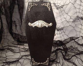 Silver Filigree Bat Black Goth Wood Coffin