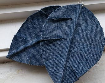Denim fabric earrings, leaf design.(larger size)